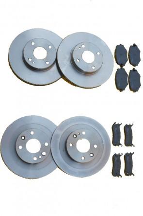 NA 4x Bremsscheiben & Bremsbeläge Bremsenkit Komplett-Kit 235mm + 231mm Ø VA & HA (1989-1994) Vorderachse & Hinterachse
