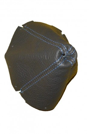 NA  Lederschaltsack Schaltsack Schaltmanschette Leder anthrazit  dunkelgrau (blaue Naht)