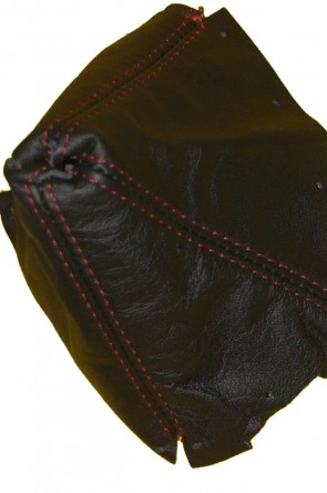 NA  Lederschaltsack Schaltsack Schaltmanschette Leder schwarz (weinrote Naht)