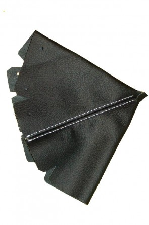 NB  Lederschaltsack Schaltsack Schaltmanschette Leder schwarz (weiße Naht)