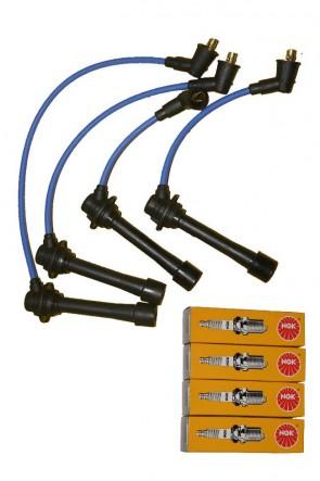 Zündkabel Silikon- Zündkabelsatz blau 8mm  NA NB  inkl. Zündkerzen BKR6E-11  Bj. 89-05